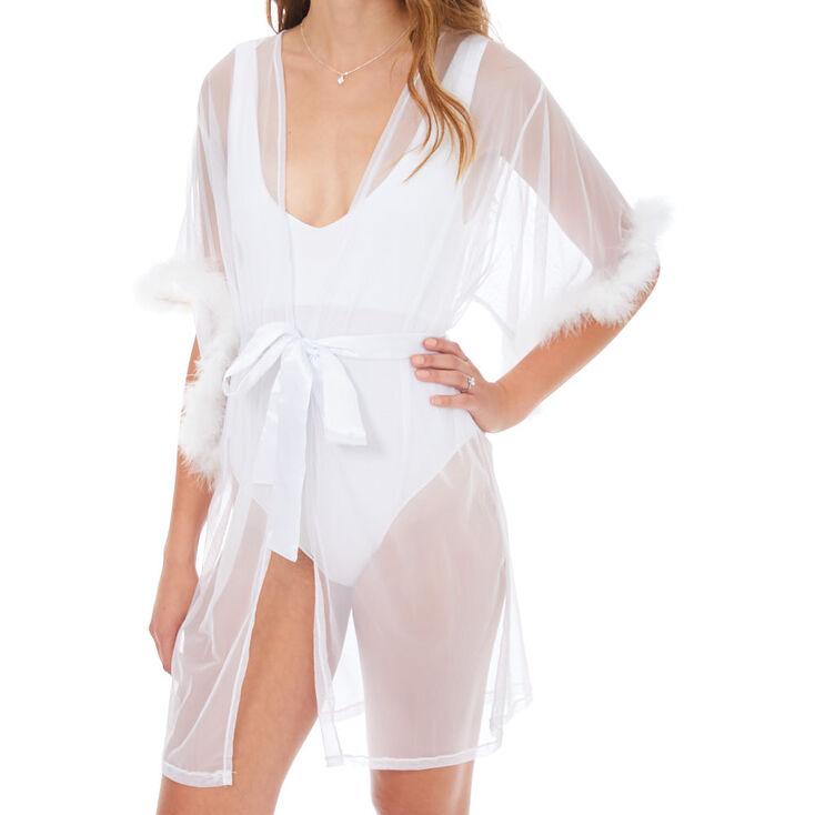 Sheer Fur Lined Robe - White,
