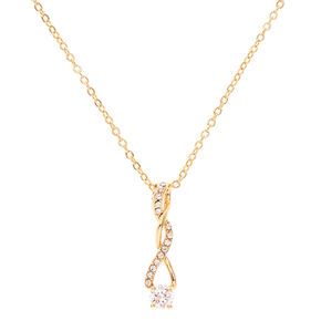 Gold Tone Cubic Zirconia Twisted Pendant Necklace,