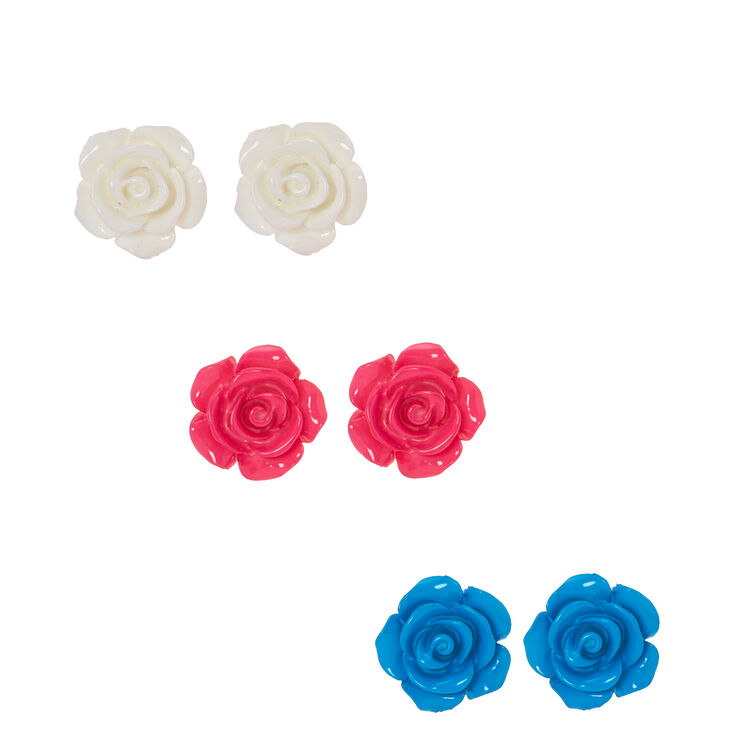Large Carved Roses Stud Earrings,