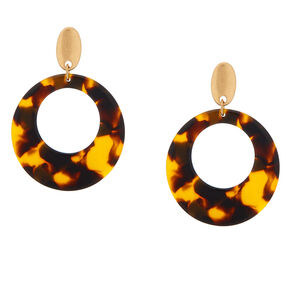 "Tortoise 2"" Shell Drop Earrings - Brown,"
