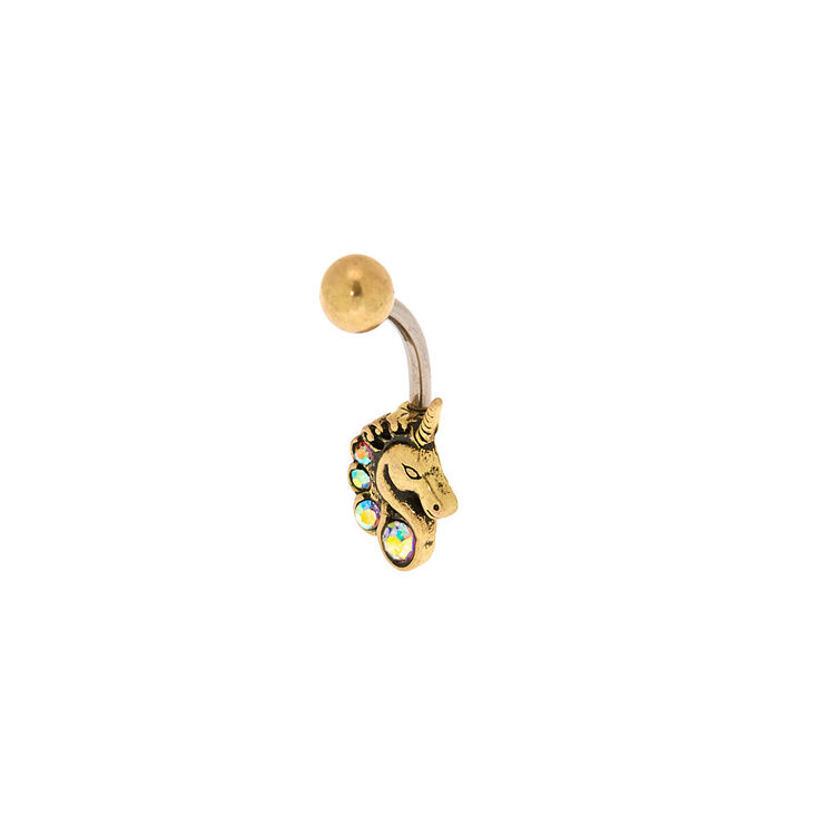 Gold 14G Iridescent Crystal Unicorn Belly Ring,