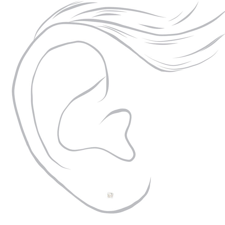 Sterling Silver Cubic Zirconia Round Stud Earrings - 2MM,