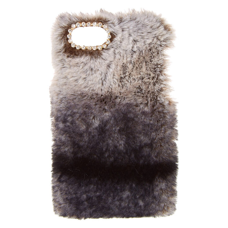 Black Faux Chinchilla Fur Phone Case,