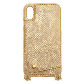 Gold Crossbody Phone Case - Fits iPhone XR,