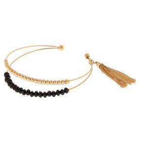 Gold Beaded Tassel Cuff Bracelet - Black,