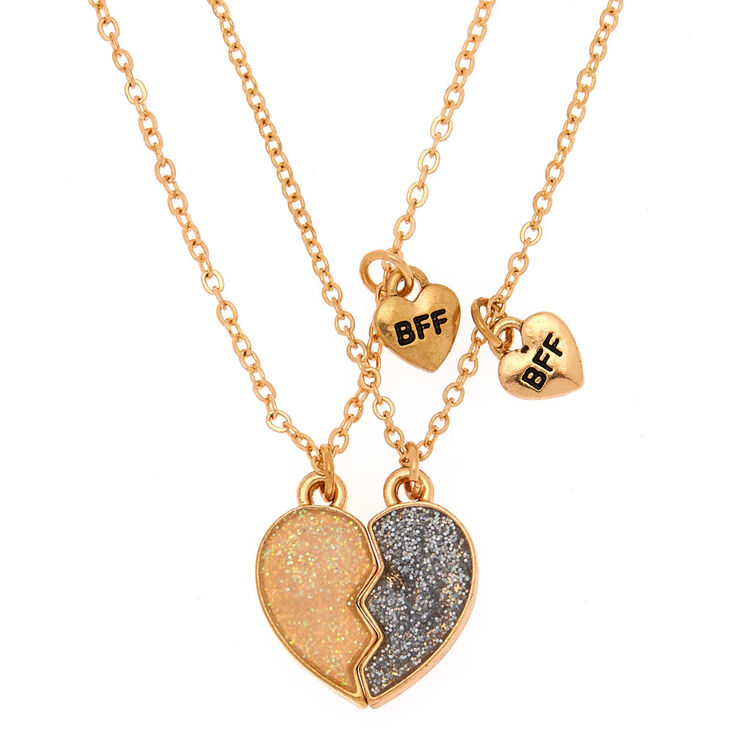 Best Friends Glitter Heart Pendant Necklaces - Silver, 2 Pack,