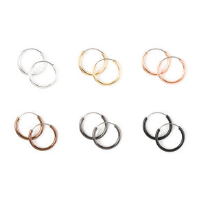 Mixed Metal 10MM Hoop Earrings  - 6 Pack,