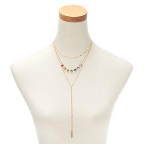 Rainbow Stone Multi Strand Necklace,
