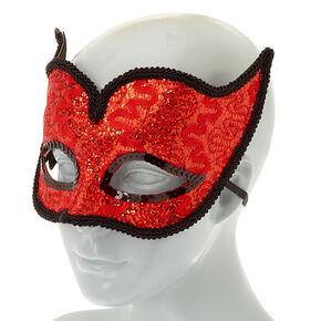 Lace Glitter Devil Mask - Red,