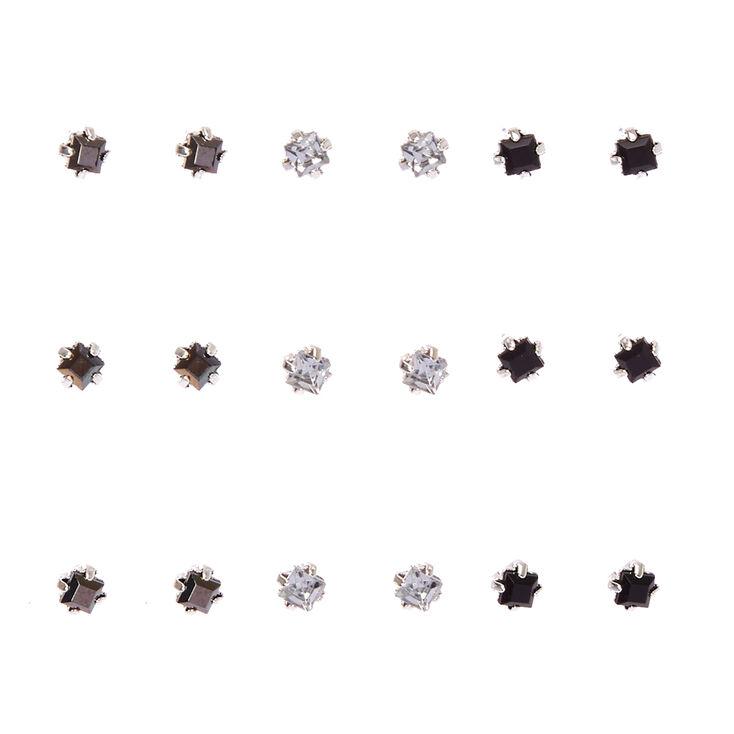 Black & Clear Square Cut Faux Crystal Stud Earrings,