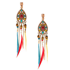 "Gold 4"" Feather Clip On Drop Earrings,"