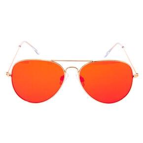 Red Tinted Aviator Sunglasses,
