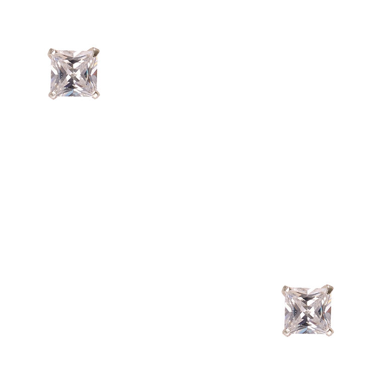 5mm 925 Sterling Silver Cubic Zirconia Square Stud Earrings,