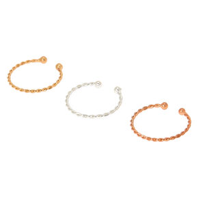 Mixed Metal Twisted Faux Hoop Nose Rings - 3 Pack,