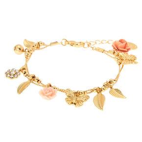 Gold Romantic Rose & Butterfly Charm Bracelet,
