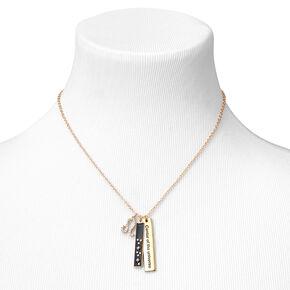 Gold Rectangular Zodiac Pendant Necklace - Leo,
