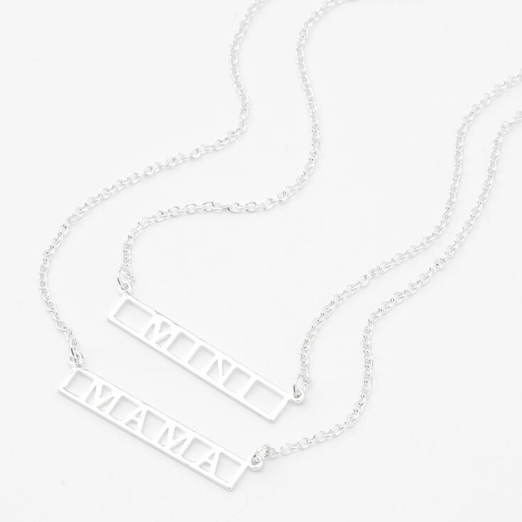 Silver Mini & Mama Pendant Necklaces - 2 Pack,