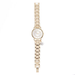 Gold-Tone Watch with Simulated Rhinestone Charm,