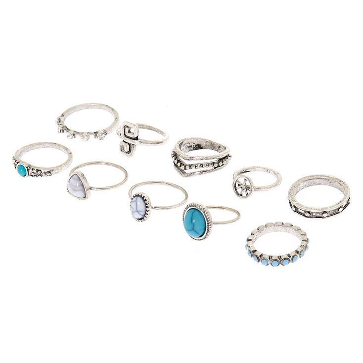 Silver Antique Rings - Turquoise, 8 Pack,