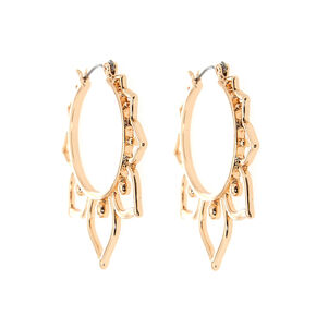 Gold 30MM Leaf Hoop Earrings,