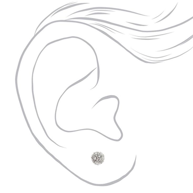 Silver Crystal Fireball Stud Earrings,