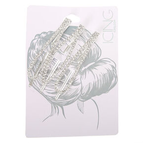 Silver Rhinestone Oval Bobby Pins - 3 Pack,