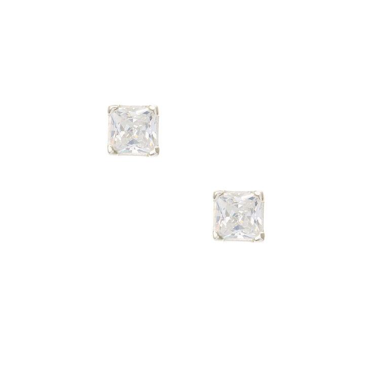 Cubic Zirconia Sterling Silver Earrings,