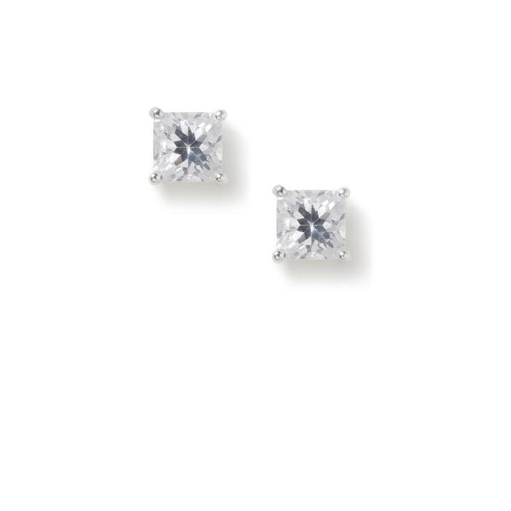 5MM Cubic Zirconia Square Cut Four Prong Set Stud Earrings,