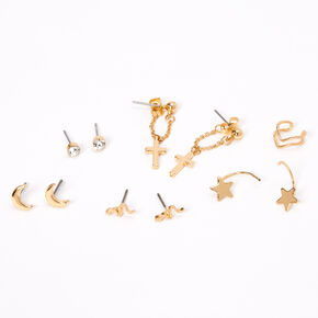 Gold Cross Celestial Mixed Earrings - 6 Pack,