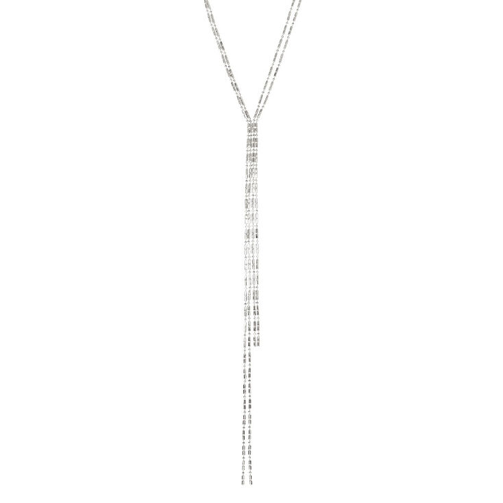 Silver Toned Skinny Chain Necklace,