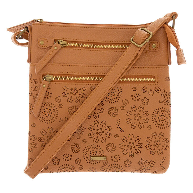 Filigree Cut Perforated Midi Passport Crossbody Bag - Cognac,