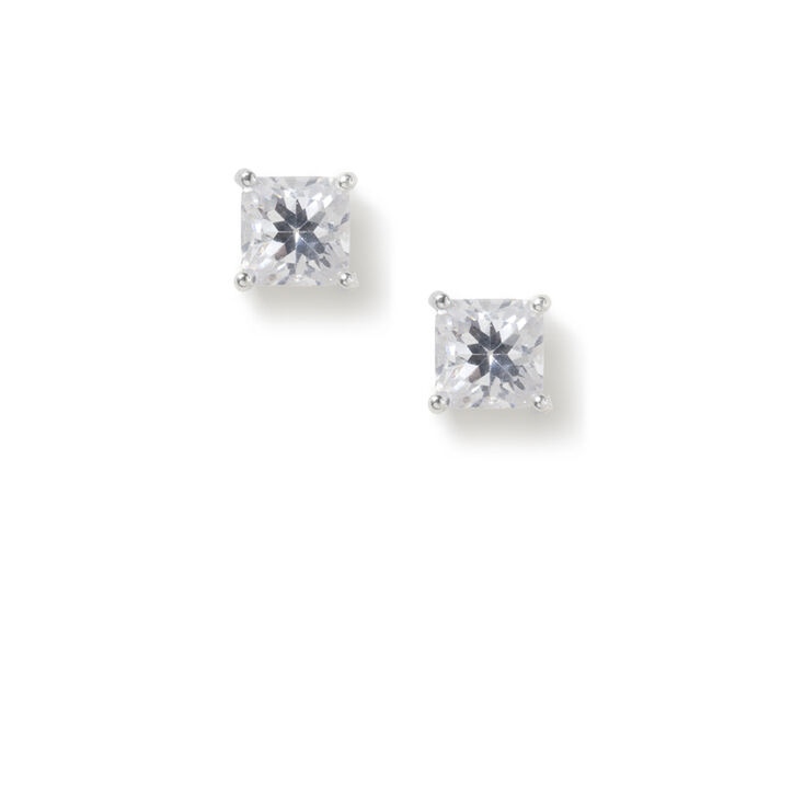 5MM Cubic Zirconia Square Cut Four Prong Set Stud Earrings,