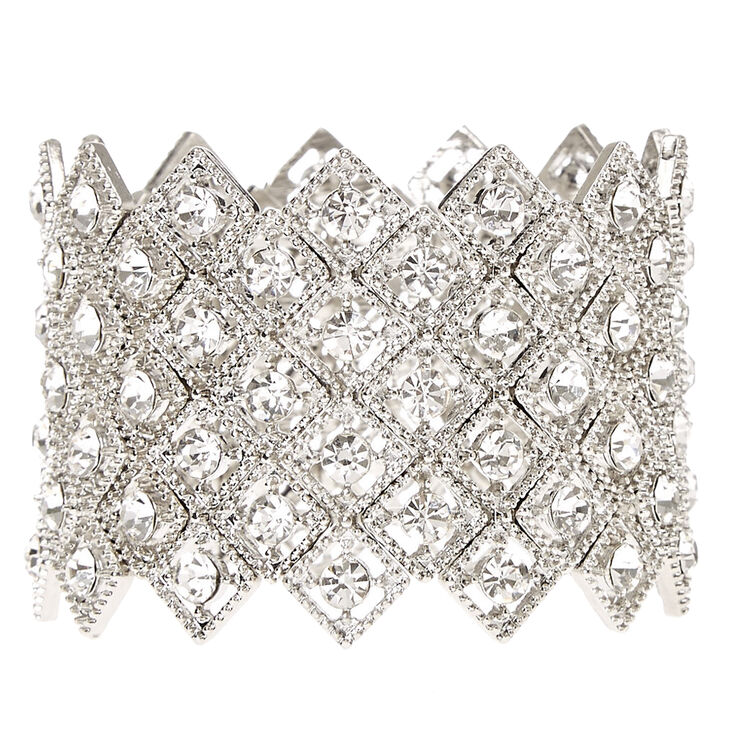 Silver Rhinestone Art Deco Stretch Bracelet,