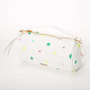 Summer Signature Print Barrel Crossbody Bag - White,