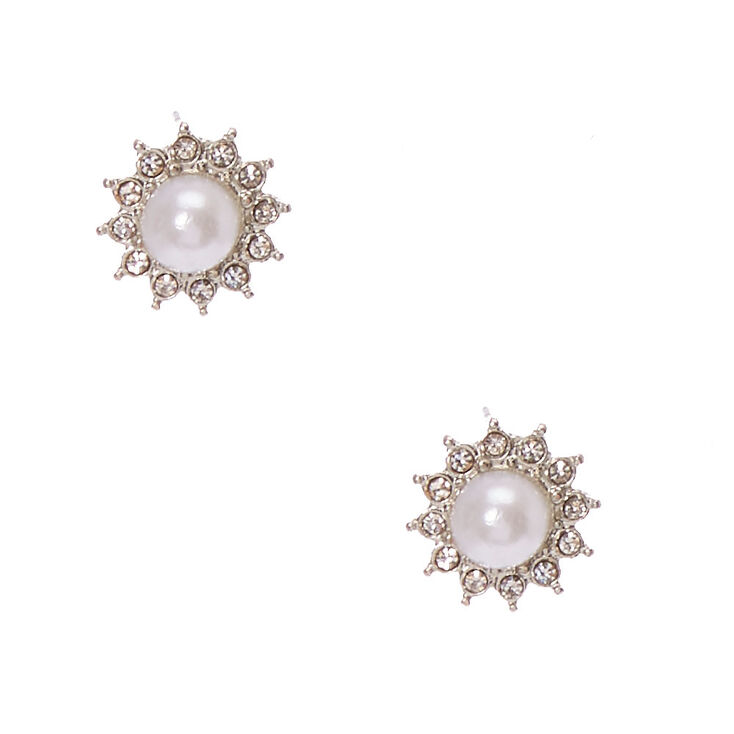 Crystal Framed White  Faux Pearl Stud Earrings,