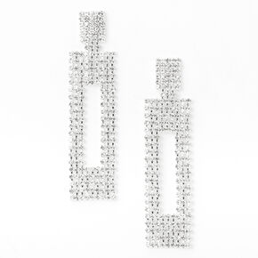 "Silver 3"" Rhinestone Linear Open Rectangle Drop Earrings,"