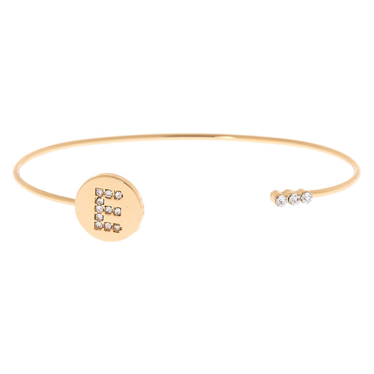 Gold Initial Cuff Bracelet - E,