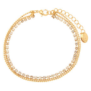 Studded Beaded Multi Layered Anklet - Gold,