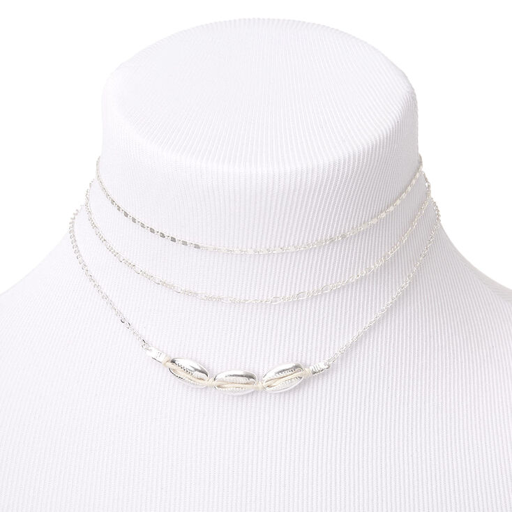 Silver Cowrie Shell Chain Choker Necklaces - 3 Pack,