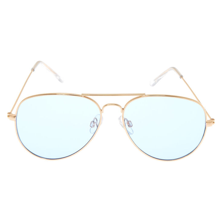 Blue Tinted Gold Tone Aviator Sunglasses,
