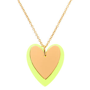 Gold Neon Double Heart Long Pendant Necklace - Yellow,