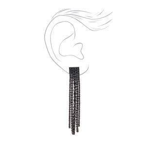 """Black 2.5"""" Multi Rhinestone Linear Drop Earrings,"""