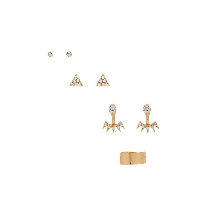Gold Stud Earrings - 3 Pack + Free Ear Cuff,