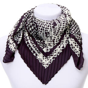 Square Mixed Print Fashion Scarf - Black,