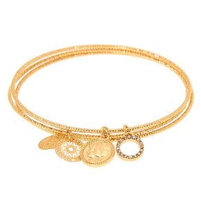 Gold Coin Filigree Charm Bangle Bracelets - 3 Pack,