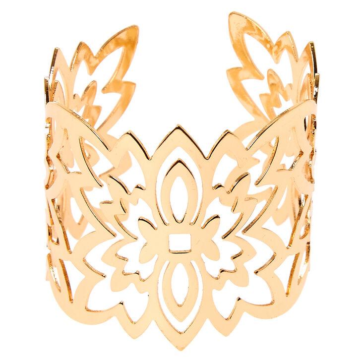 Gold Filigree Flower Cuff,
