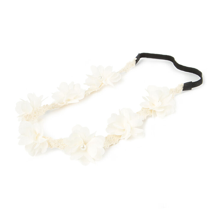 Ivory Thin Crochet Headwrap with Chiffon Flowers,