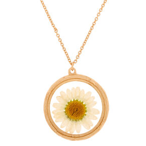 Gold Pressed Flower Long Pendant Necklace,
