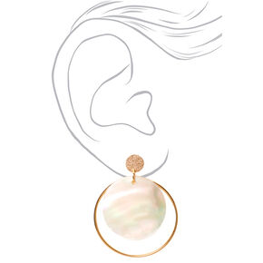 "Gold 2"" Round Iridescent Seashell Drop Earrings,"