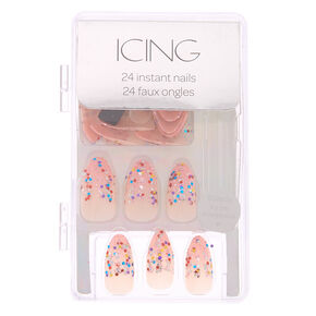 Rainbow Glitter French Tip Faux Nail Set - Pink, 24 Pack,
